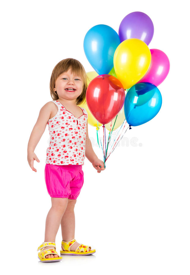 Meisje die met ballons glimlachen. royalty-vrije stock afbeelding