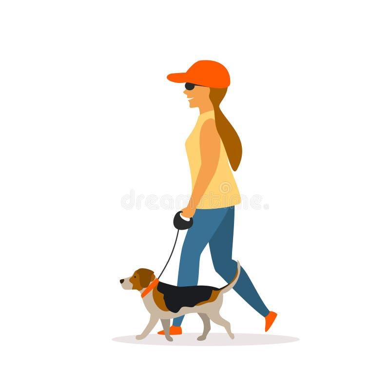 Meisje die met brakhond lopen stock illustratie