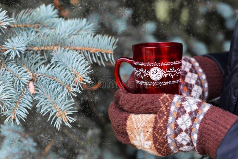 Meisje die met handschoenenvuisthandschoenen een kop van rood met hete koffie houden royalty-vrije stock afbeeldingen