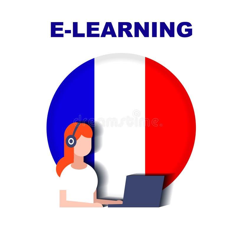 Meisje die met hoofdtelefoons het Frans over Internet bestuderen stock illustratie