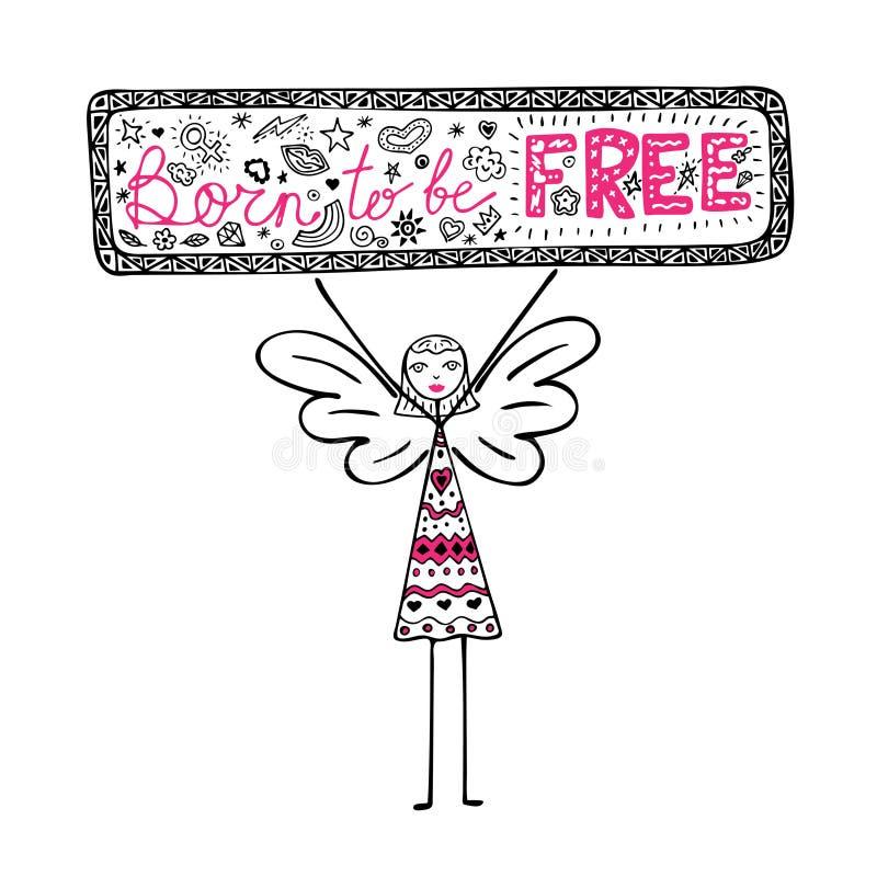 Meisje die met vleugels een affiche met uitdrukking Geboren vrij, inspirational citaat, grafische illustratie in krabbelstijl te  stock illustratie