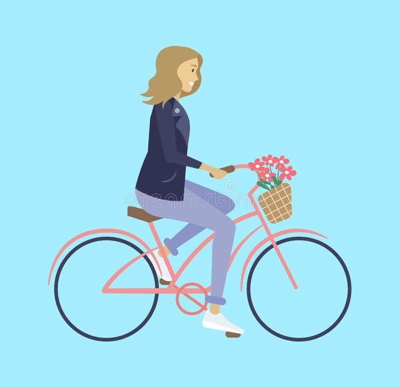 Meisje die op Fiets met Bloemen berijden, Biking-Vector vector illustratie