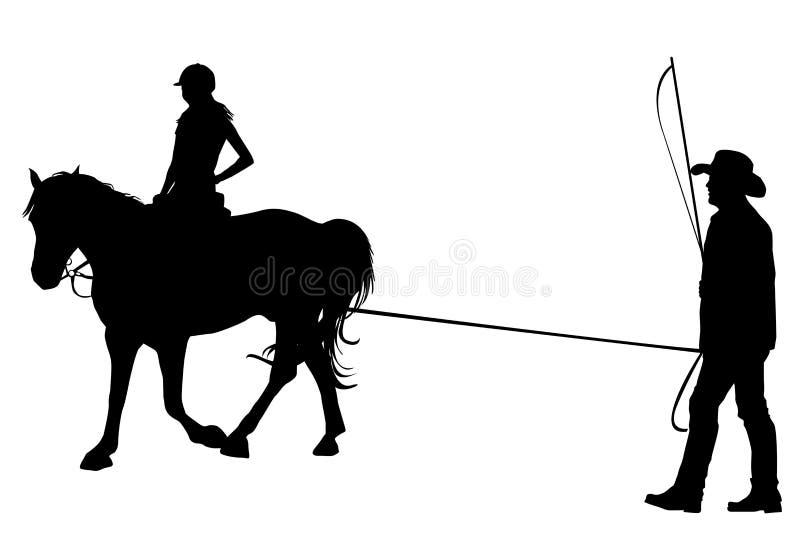 Meisje die op het paard met haar trainer berijden vector illustratie