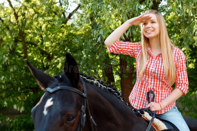 Meisje die op het paard vooruitzien stock fotografie