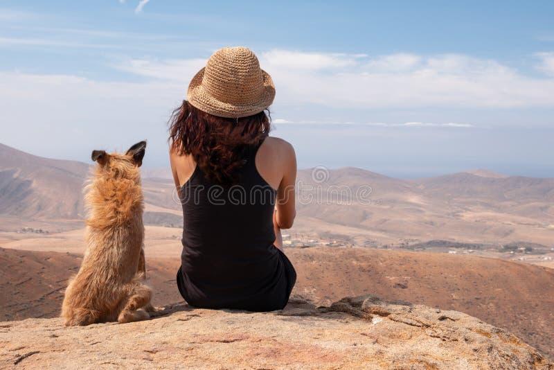 Meisje die op het panorama met haar puppyhond letten royalty-vrije stock fotografie