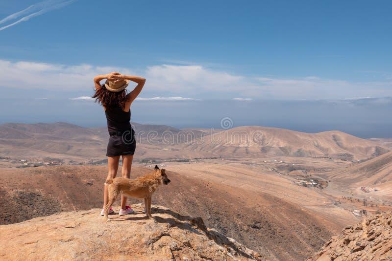 Meisje die op het panorama met haar puppyhond letten stock foto