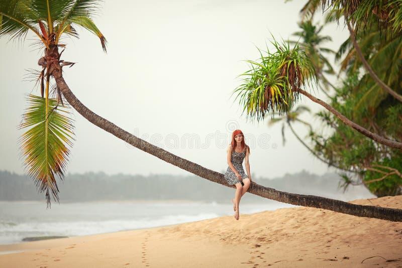 Meisje die op het strand rusten stock afbeeldingen