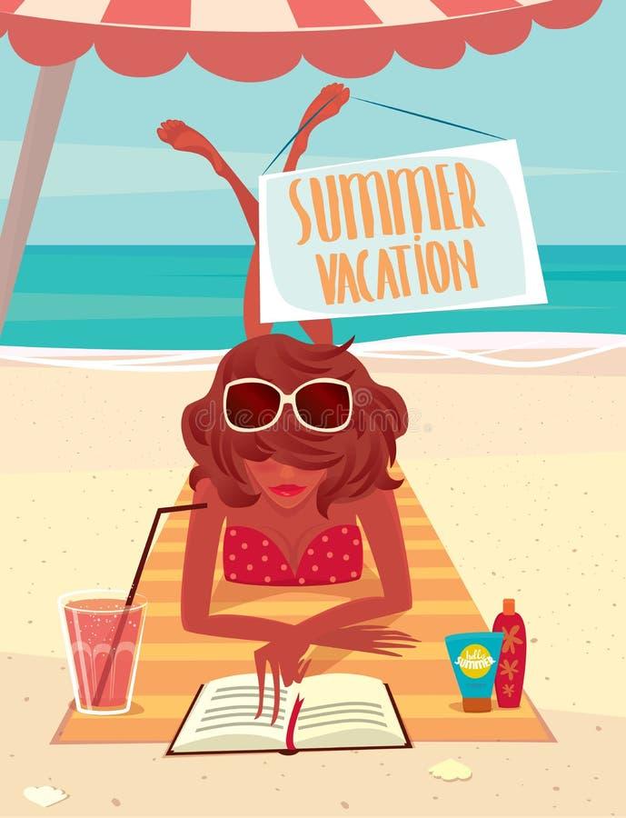 Meisje die op het strand rusten vector illustratie