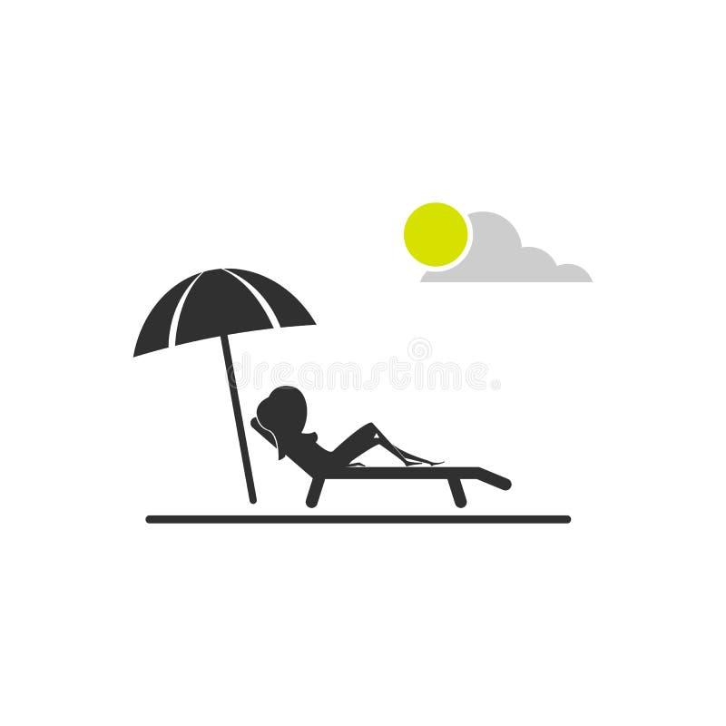Meisje die op het strand rusten Vectordiesymbool op wit wordt ge?soleerd vector illustratie