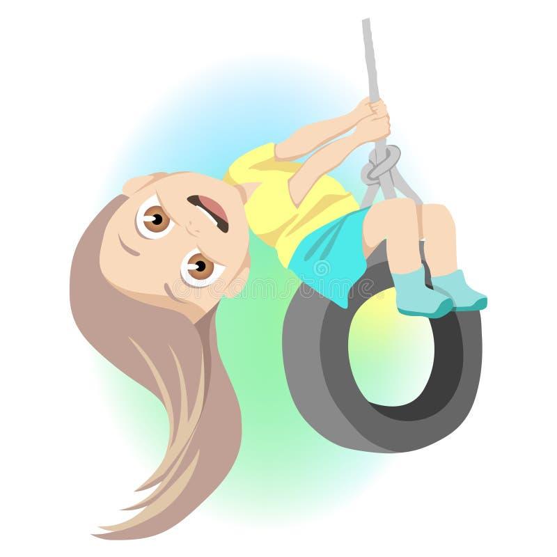 Meisje die op schommeling op speelplaats slingeren vector illustratie