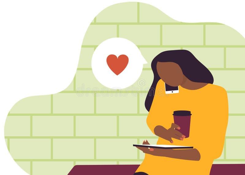 Meisje die op telefoon spreken en iets evalueren vector illustratie