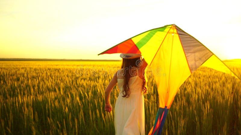 Meisje die rond met een vlieger op het gebied lopen Het concept van de vrijheid royalty-vrije stock afbeeldingen