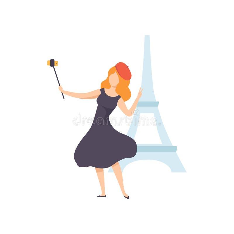 Meisje die Selfie-Foto op Smartphone op Achtergrond die van de Toren van Eiffel, Vrouwelijke Toerist nemen Foto of Video voor Soc royalty-vrije illustratie