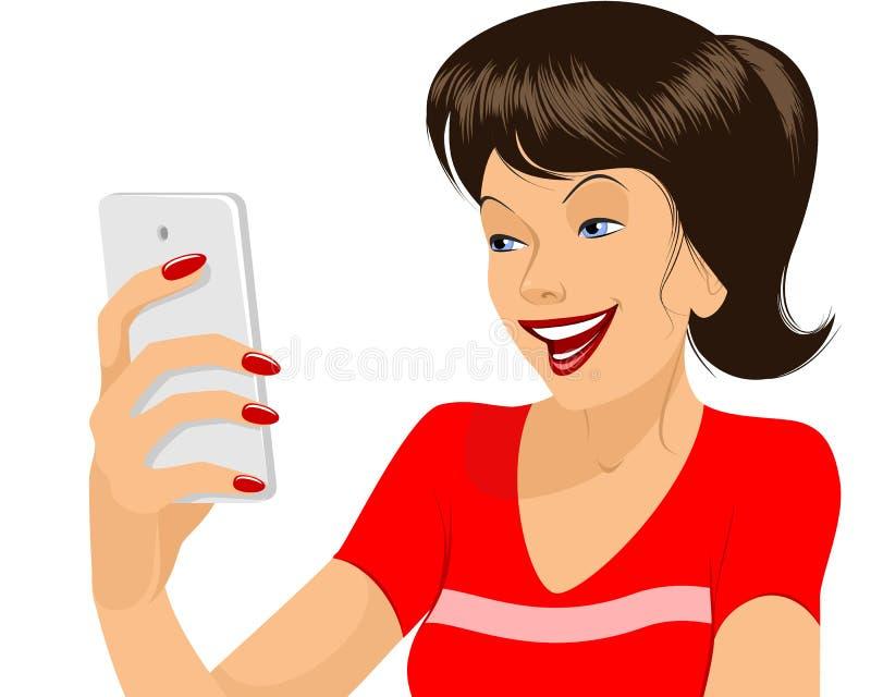 Meisje die selfie maken vector illustratie