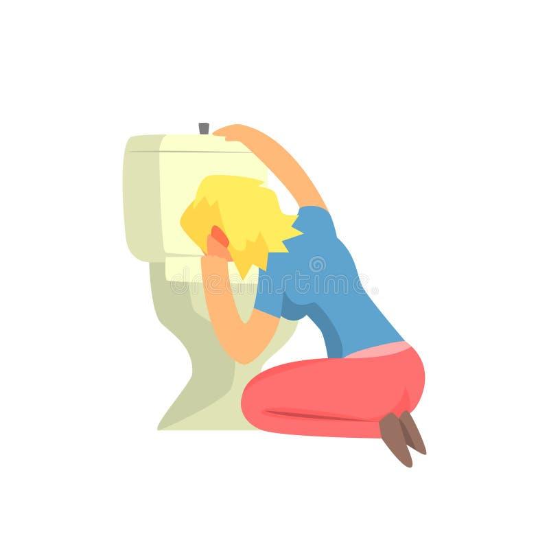 Meisje die in Toilet Misselijk makend, Volwassen Person Feeling Unwell die, Zieken braken, aan Ziekte lijden stock illustratie