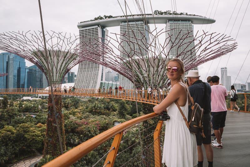 Meisje die Tuinen onderzoeken door de Baai in Singapore royalty-vrije stock foto