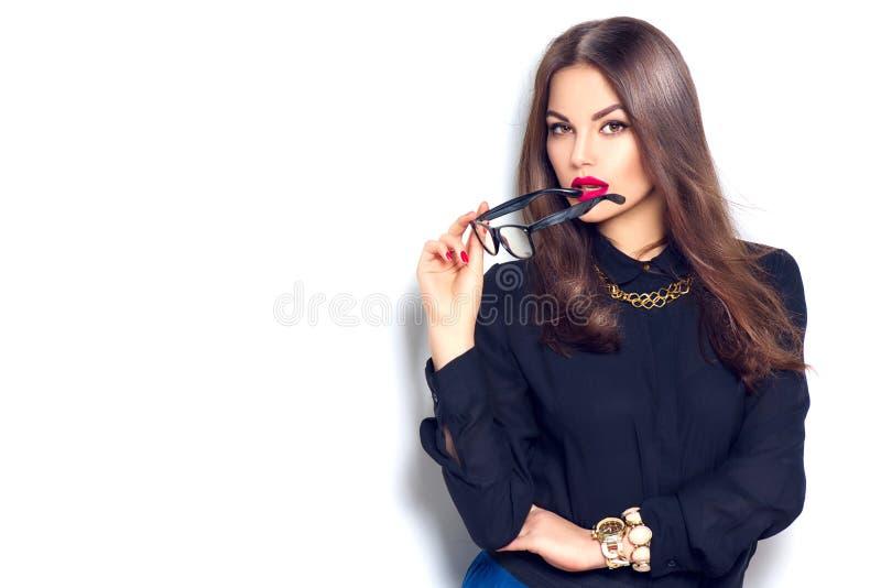 Meisje die van de schoonheids het sexy mannequin glazen dragen royalty-vrije stock fotografie