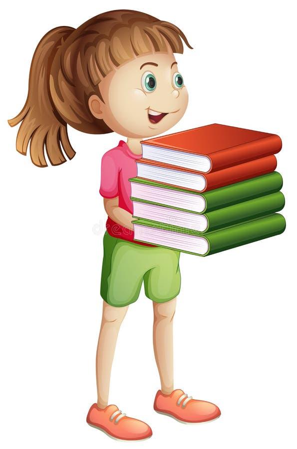 Meisje die vele boeken dragen vector illustratie