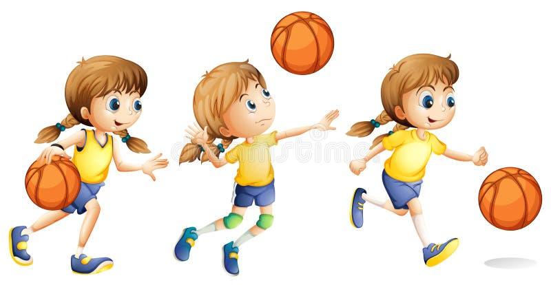 Meisje die verschillende sporten spelen stock illustratie