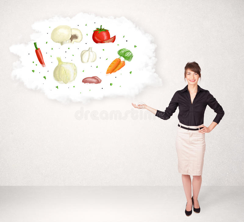 Download Meisje Die Voedingswolk Met Groenten Voorstellen Stock Foto - Afbeelding bestaande uit concept, lunch: 39101108