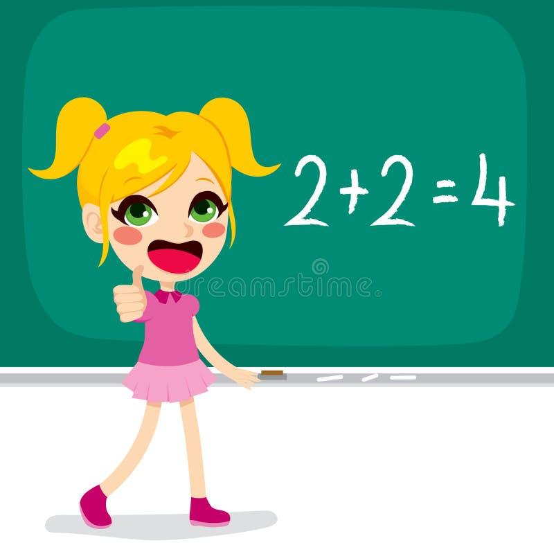 Meisje die Wiskundeberekening oplossen stock illustratie