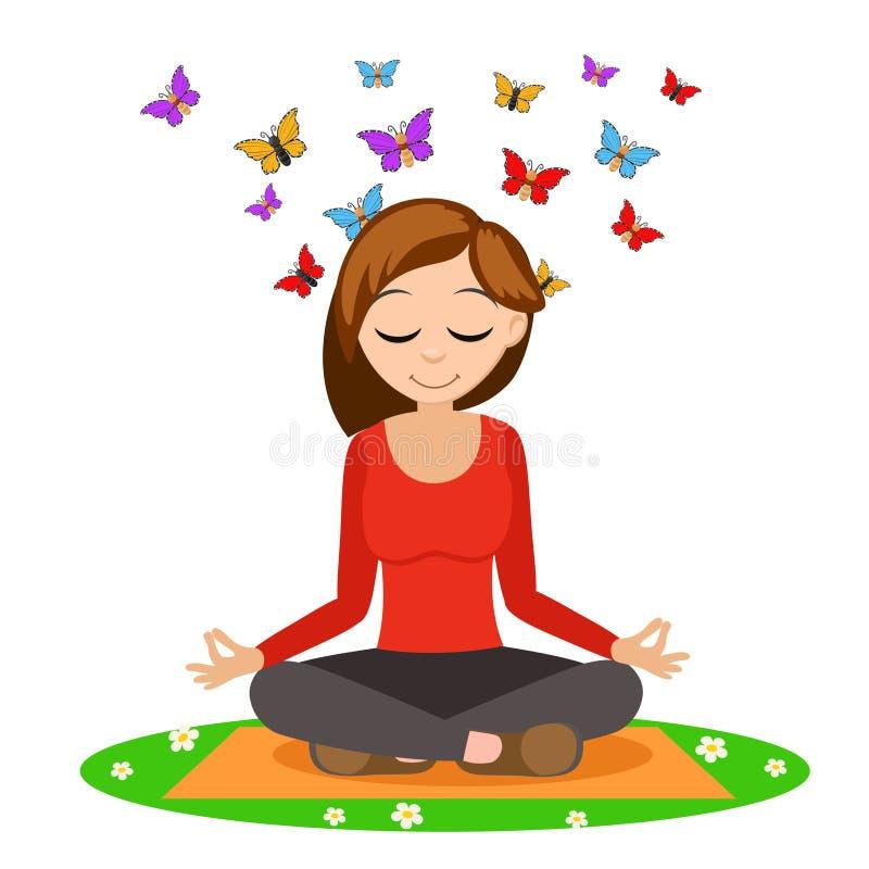 Meisje die yoga op de mat, van achter de hoofdvliegvlinders doen op een wit stock illustratie