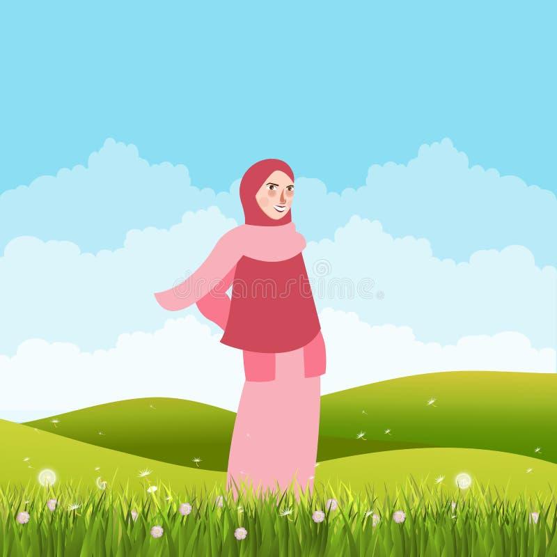 Meisje die zich in groen gebiedsland alleen bevinden die sluiersjaal dragen royalty-vrije illustratie