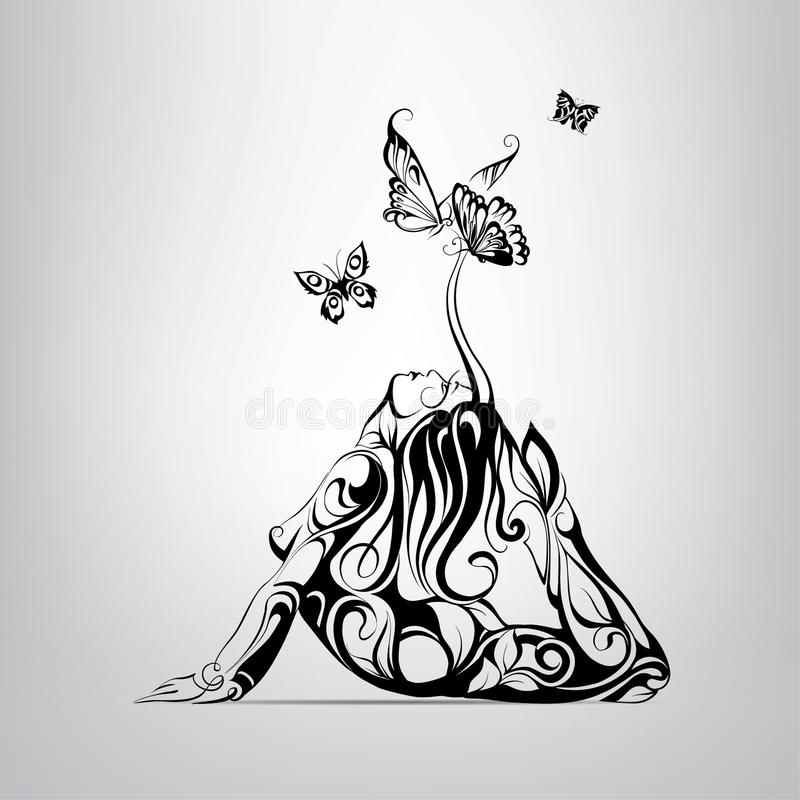 Meisje door vlinders wordt omringd die Vector illustratie vector illustratie