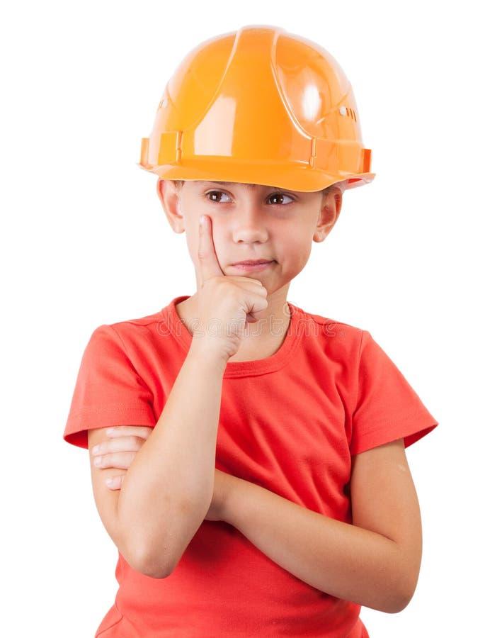 Meisje in een beschermende helm stock fotografie