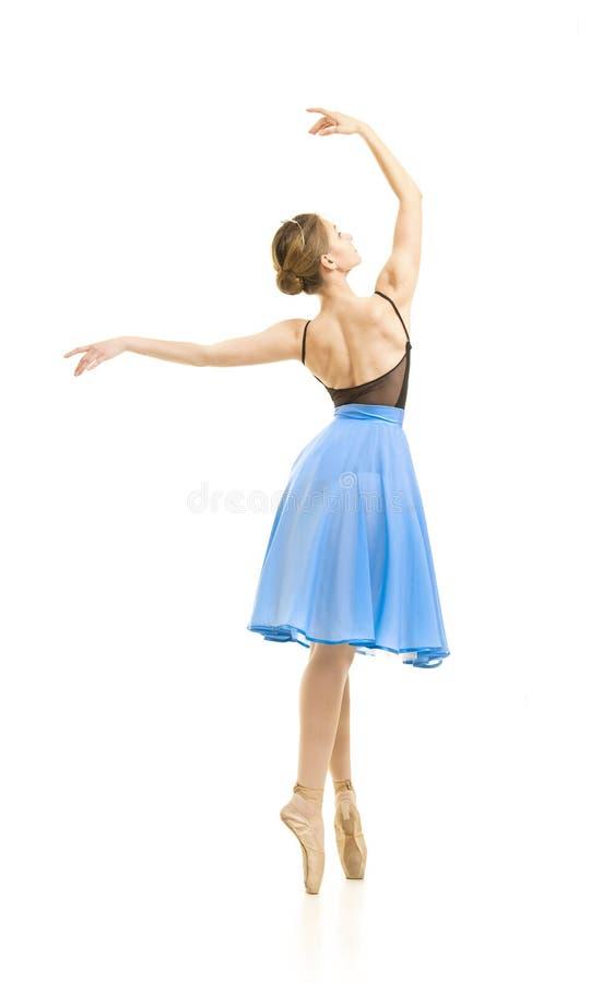 Meisje in een blauwe rok en een zwart ballet van de maillotdans stock afbeeldingen