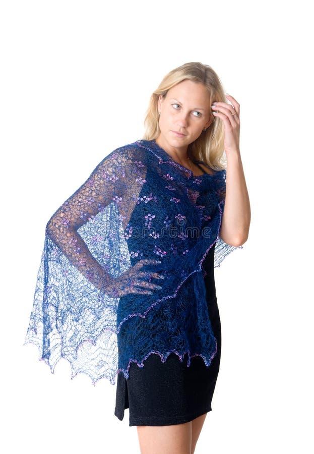 Download Meisje In Een Blauwe Tippet Stock Afbeelding - Afbeelding bestaande uit geïsoleerd, achtergrond: 29513617