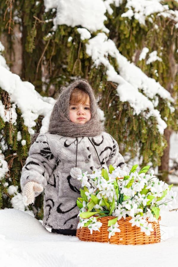 Meisje in een de winterhout stock foto's