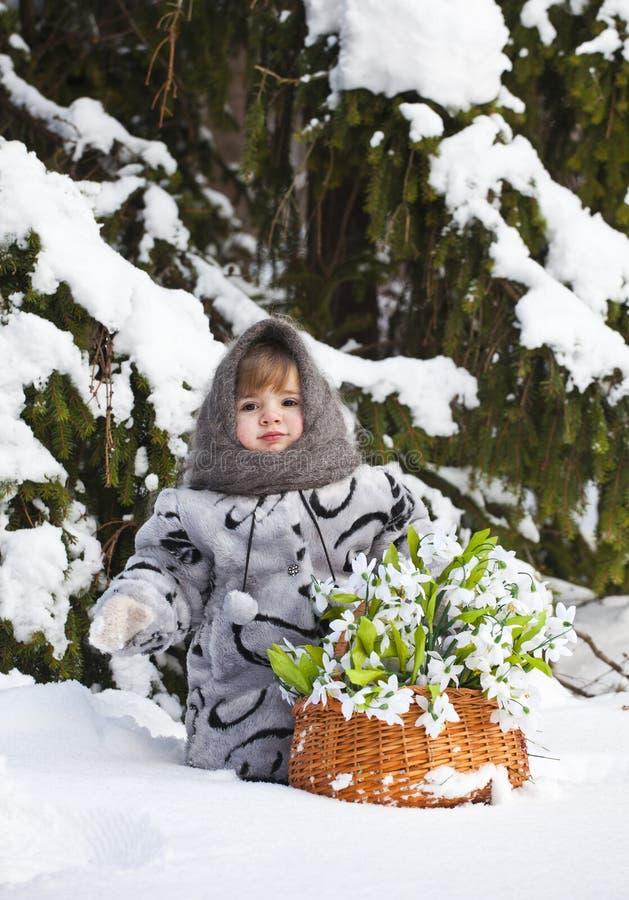 Meisje in een de winterhout met de grote mand royalty-vrije stock foto's