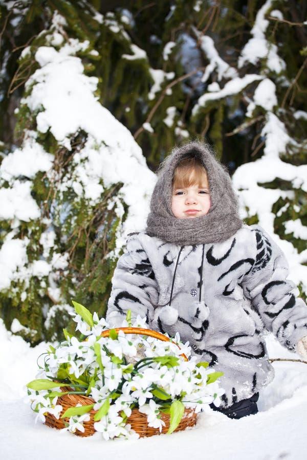 Meisje in een de winterhout met de grote mand van sneeuwklokjes royalty-vrije stock afbeelding
