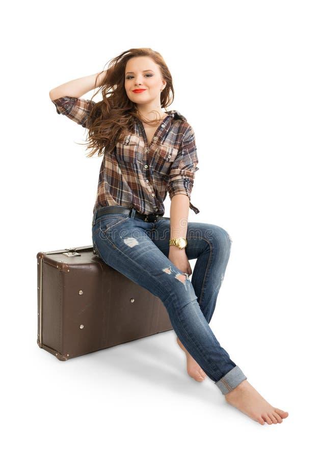 Meisje in een gecontroleerd overhemd stock afbeelding