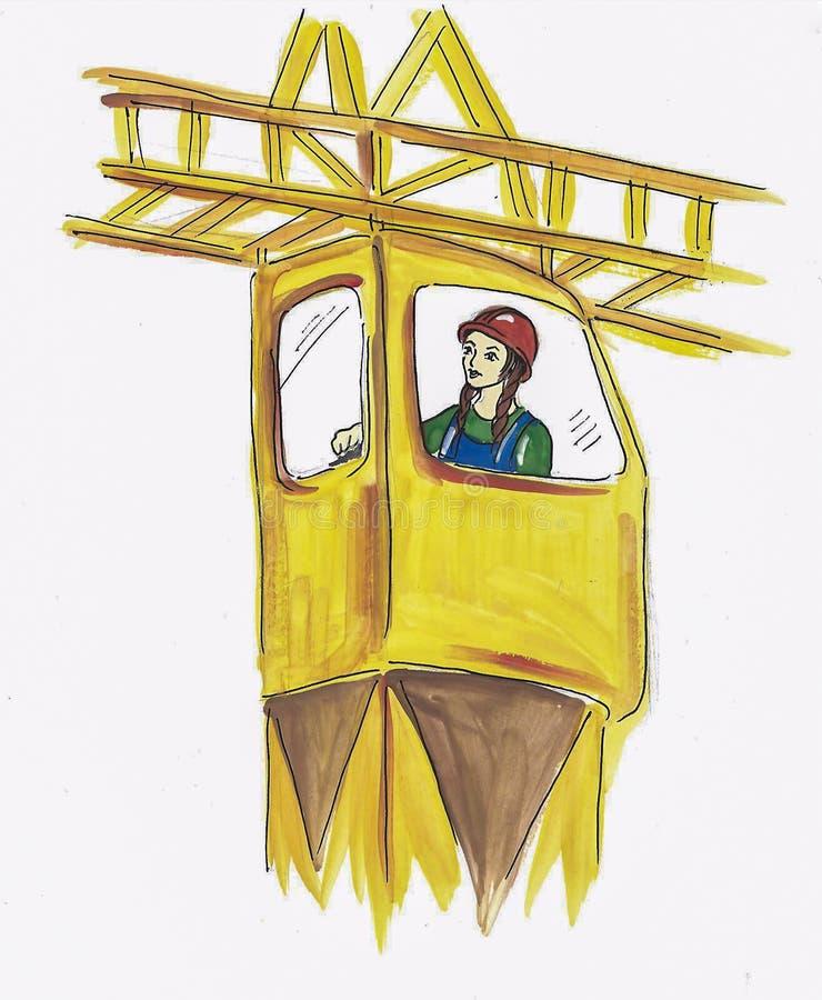 Meisje in een helm die aan een bouwkraan werken gouachedrawi stock afbeeldingen