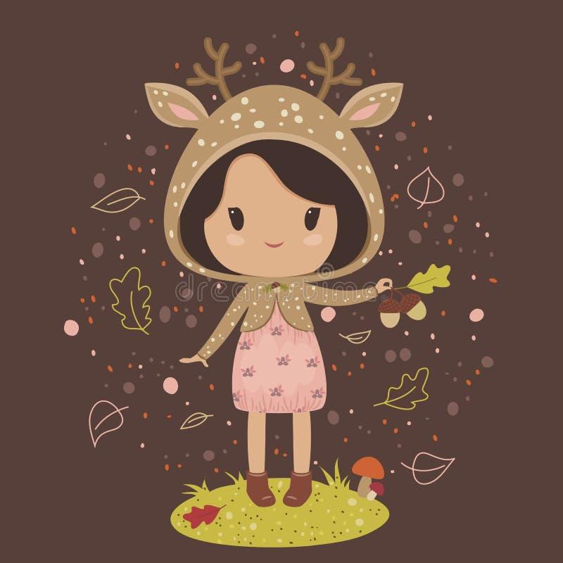 Meisje in een hertenkostuum vector illustratie