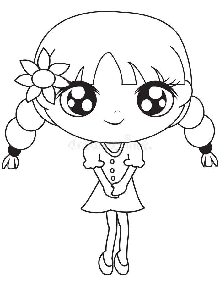 Meisje in een kleding met een bloem kleurende pagina royalty-vrije illustratie