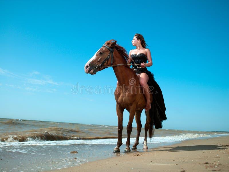 Meisje in een kleding op een paard door het overzees stock foto