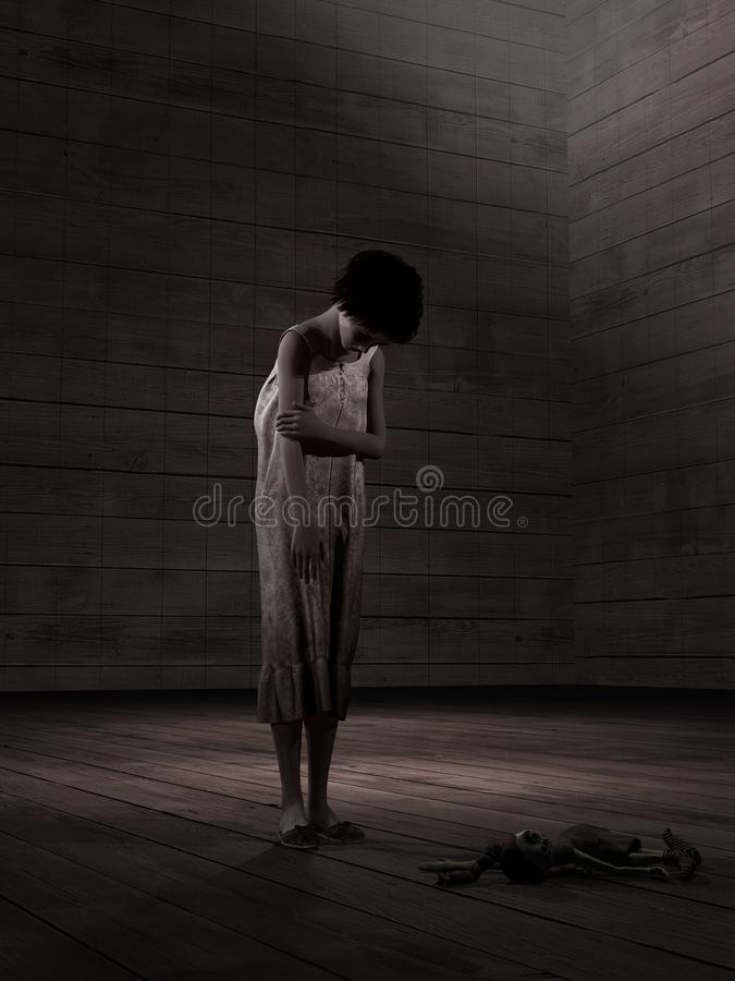 Meisje in een lege ruimte stock foto