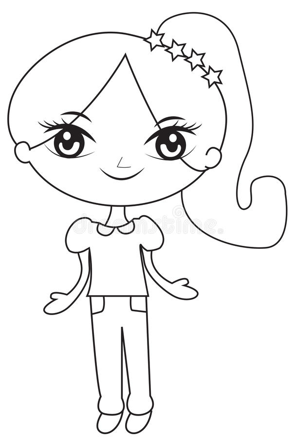Meisje in een paardestaart met sterren die pagina kleuren royalty-vrije illustratie