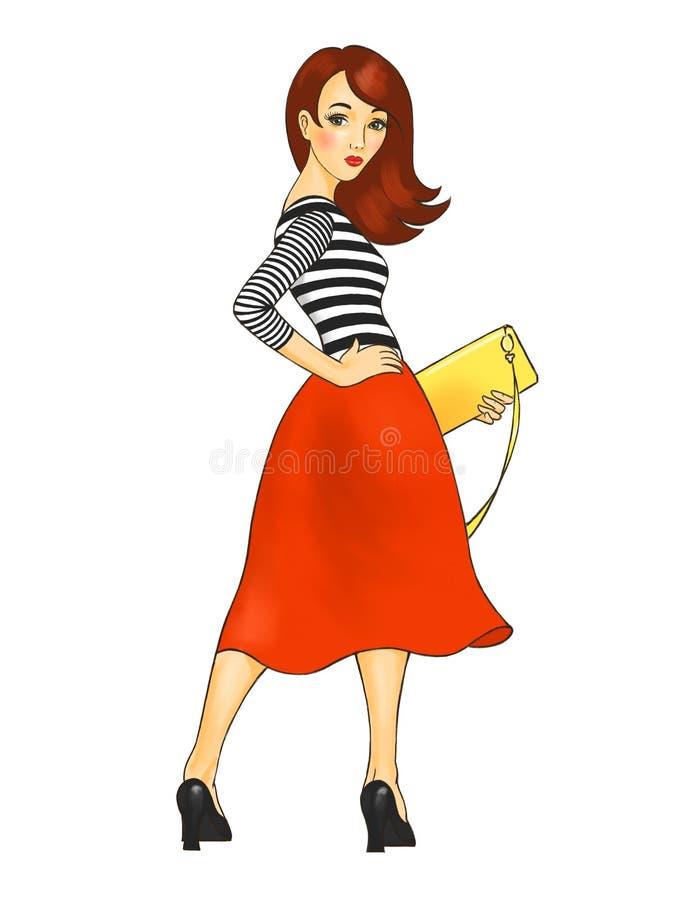 Meisje in een rode rok royalty-vrije illustratie