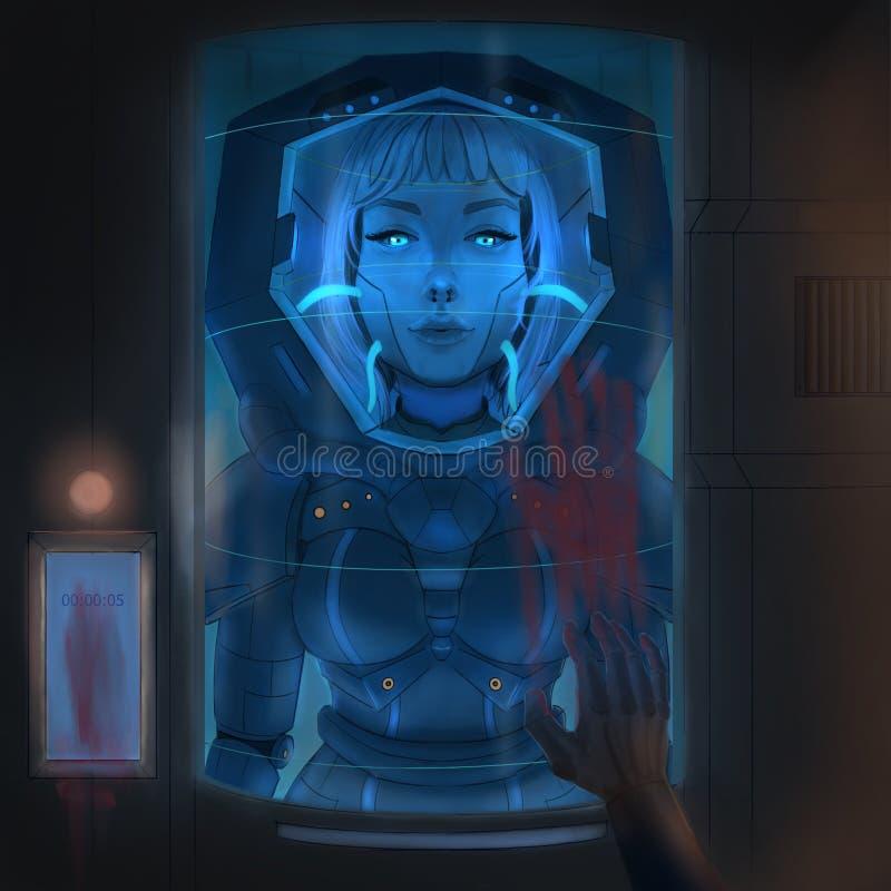Meisje in een spacesuit stock illustratie
