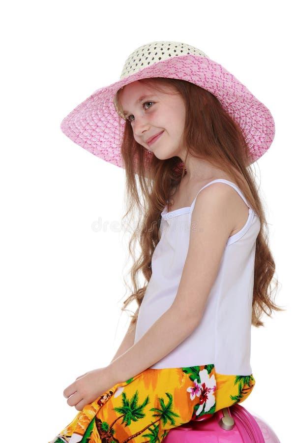 Meisje in een strohoed royalty-vrije stock afbeeldingen
