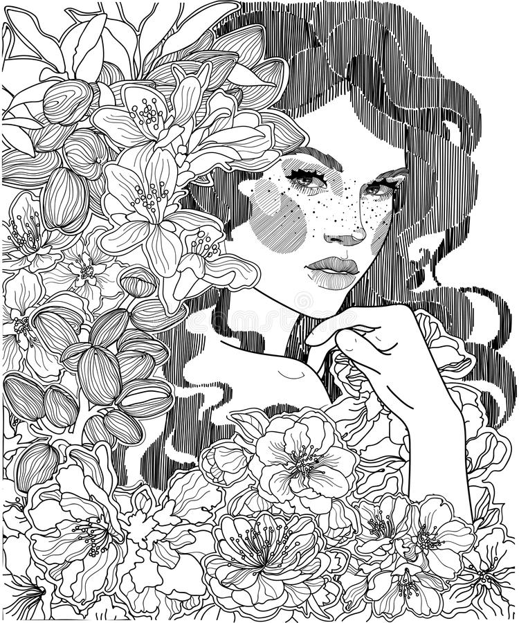 Meisje in een struikgewas van bloeiende amandelen royalty-vrije illustratie