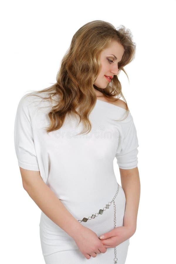 Meisje in een witte geïsoleerde kleding royalty-vrije stock afbeeldingen