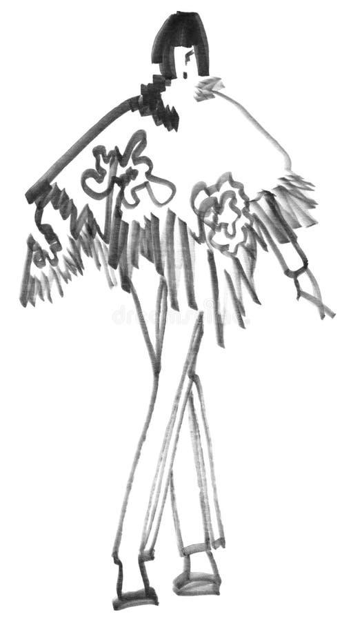 Meisje in een wollen sjaal royalty-vrije illustratie
