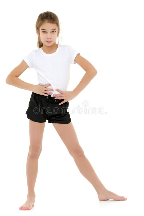 Meisje in een zuivere witte t-shirt voor reclame en borrels stock fotografie