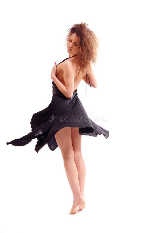Meisje in een zwarte kleding royalty-vrije stock foto's