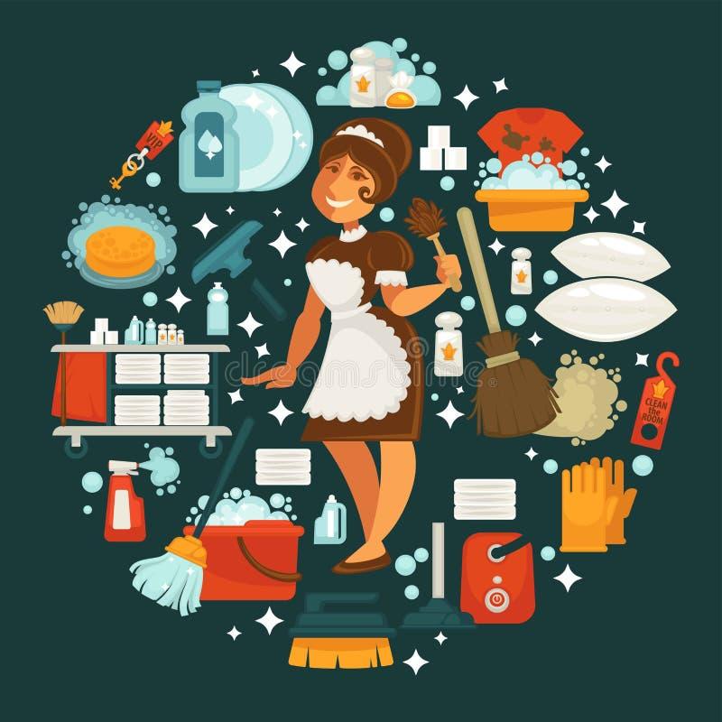 Meisje in eenvormig omringd met materiaal om schoon te maken stock illustratie